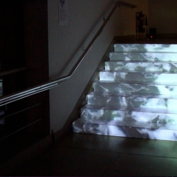 3. Waterfall, Dimensions Variable, Installation with video projection, 2014, image credit, Lynn Dennison